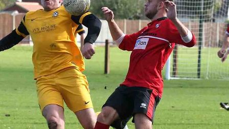 Action from Saturday's clash between Waveney and Long Stratton. Picture: Steve Race