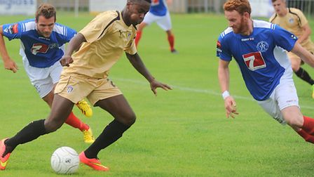 Gavin Massey in action against Leiston this afternoon. Massey scored the U's second goal in an 8-1 w