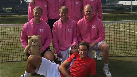Suffolk's men's tennis team has been promoted to Group One of the Aegon County Cup. Back: Matt Houg