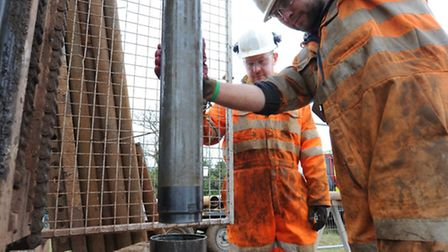 Borehole drilling as part of site investigations for Sizewell C.