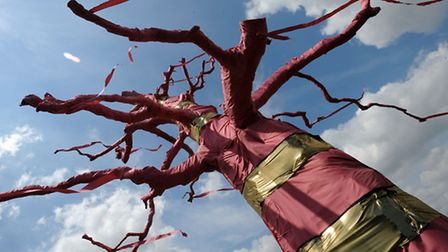 The decorated tree in the grounds of Glemham Hall for the upcoming FolkEast festival.