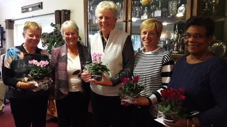 The winning team from Woodbridge GC with Diss GC Ladies' captain Jenny Chamberlin (second from left)