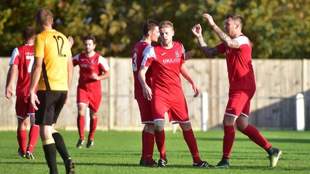 Yelverton celebrate a goal during their 3-1 win over a scratch Fakenham Town side in the Norfolk Sen