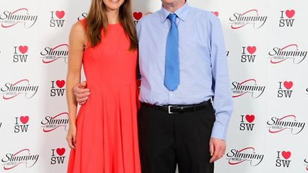 Peter Curd with Sky Sports presenter Charlie Webster at Slimming World head office