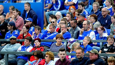 Ipswich Town fans watch on as their side go down to a limp 1-0 home defeat to rivals Norwich City