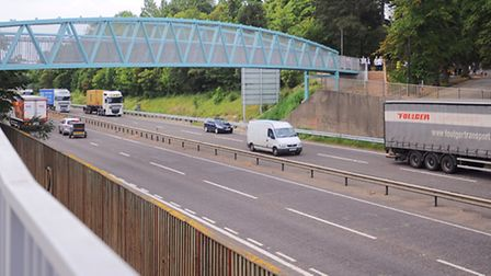 The A14 in Bury St Edmunds.