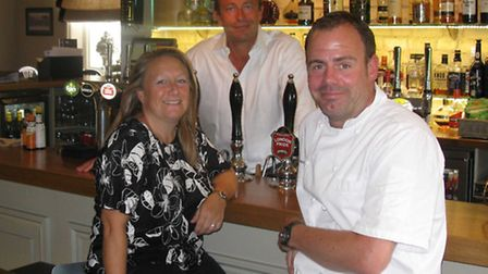 From left, Hayley Lee, Philip Turner and Chris Lee at the Packhorse Inn, Moulton, which has been na