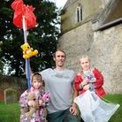 Tree surgeon Dave Evans helped rescue teddy bears from the tree next to All Saints Church, Easton. P