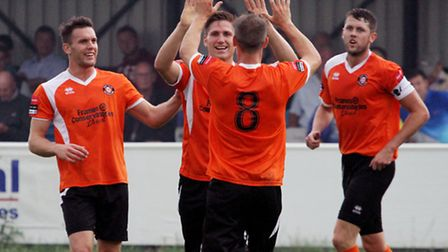 John Sands celebrating one of many goals in the colours of former club, Bury Town