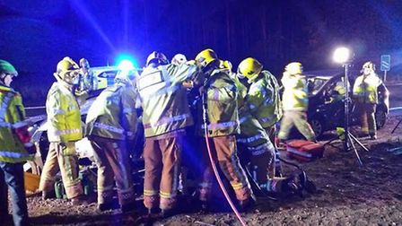Multi-vehicle crash on the A11 near Thetford attended by the Suffolk Accident Rescue Service