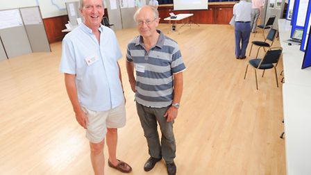 Left to right, Keith Haisman (Clare Town Council) and Geoffrey Bray (trustee) at a recent public con
