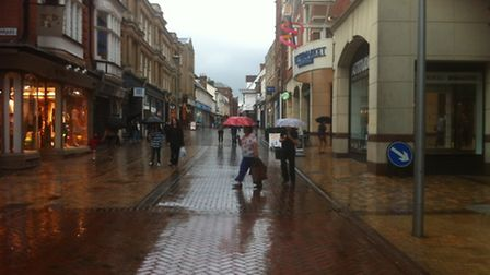 Rainfall at The Buttermarket shopping centre in Ipswich