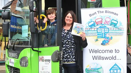 Author Fleur Bateman and her William in Soutwold for the launch of Burt the Binman