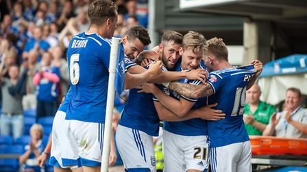 Ipswich Town's Daryl Murphy celebrates with team mates after scoring the opening goal