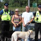 PCSO Glynn Bown, Sarah and James Feaviour and Sergeant Peter Street at the crossing.