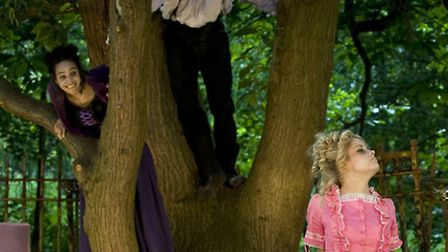 Cathy (Kirsty Thorpe) and heathcliff (Daniel Abbott) look out at Isabella (Lucy telleck)