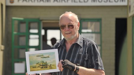 Suffolk artist Joe Crowfoot visited Parham Airfield with some of his paintings,one if which is of th
