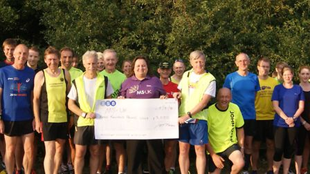 A �3,000 cheque was handed over by Stowmarket Striders to MS-UK