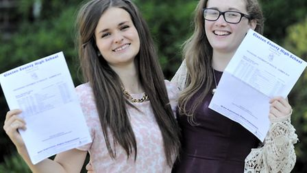 Elizabeth Adams and Charlotte Levine received their GSCE results at Clacton County High School on Th