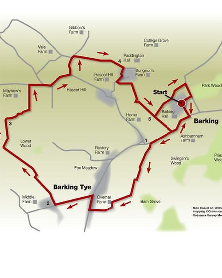 Route of the Barking and Battisford walk