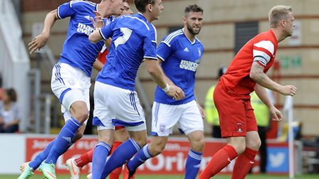 Balint Bajner fires home the loose ball to score Ipswich's goal at Leyton Orient on Saturday after n