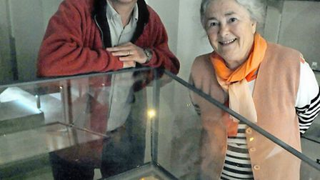 Margaret Charlesworth (right) from the Magna Carta 800 committee with the Lincoln Cathedral copy of