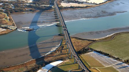 The Orwell Bridge. Aerial photo by Mike Page.
