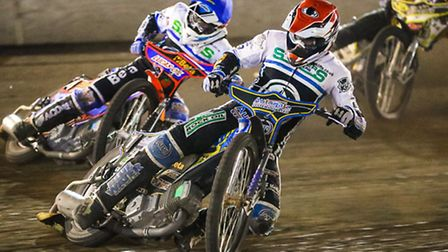Heat thirteen action with Richie Worrall ahead of team mate Rohan Tungate and Sheffields Nico Covatt