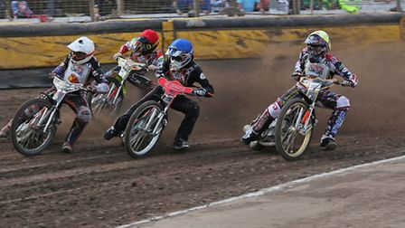 Mildenhall Fen Tigers v Leicester Lions.National Trophy. .Dan Halsey (red), Connor Coles (blue),