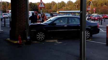 A car has crashed into a pillar outside the Sainsbury's store in London Road, Ipswich