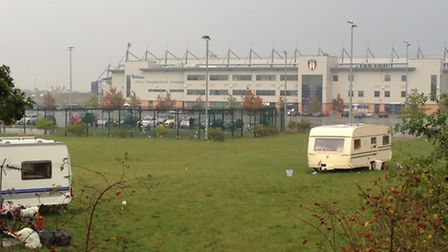 Travellers parked at Colchester Community Stadium