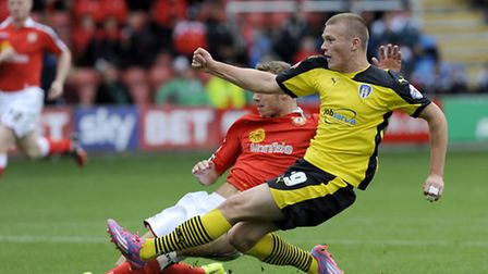 Rhys Healey scoring on his debut at Crewe on Saturday