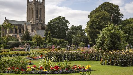 Abbey Gardens with the cathedral overlooking on a warm summers day