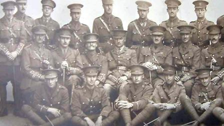 A photograph discovered of the officers of the 5th Battalion of the Essex Regiment dated between Aug