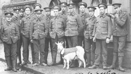 'Gunners' of the 4th Service Battalion of the Essex Regiment in Wymondham with their mascot goat in