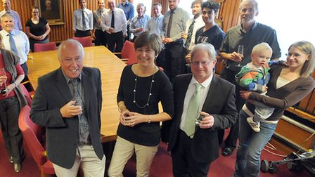 John Grant, Sandra Roberts and Dave Vincent celebrate their long service at Archant.