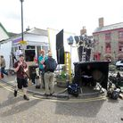 Filming for the new BBC comedy drama 'Detectorists' in Framilngham.