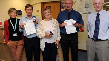 Diabetes patients at West Suffolk Hospital in Bury receive awards for managing their diabetes for 50