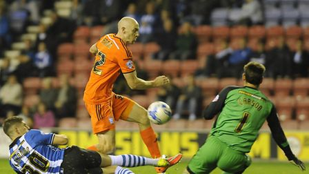 The ball breaks kindly for Connor Sammon giving him a simple tap-in for Ipswich's second at Wigan