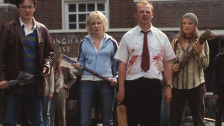 Shaun Of The Dead, with Simon Pegg as Shaun third from left. Picture: Oliver Upton/Universal Studios