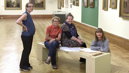 Emma Roodhouse, Claudia Bose, Jacqueline Utle,Hayley Field. Setting up the Obscure Secure exhibition