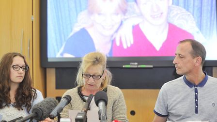 James Attfield's mother Julie Finch, surrounded by her daughter Ashlee Waller, 18, and her partner V