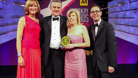 Fiona Bruce, BBC newsreader and presenter of BBC Antiques Roadshow, James and Diana Donoghue, owners