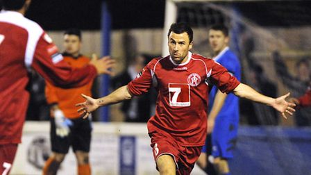 Leiston's Gareth Heath brings out the Superman celebration - something he'll be looking to today on