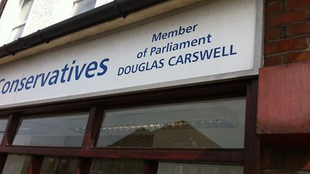 The sign at the Clacton Conservative office - it will no say Douglas Carswell