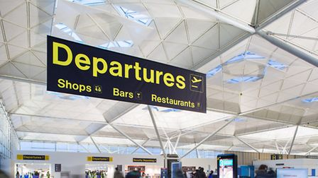 Inside the main passenger terminal at Stansted Airport.