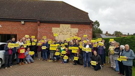 More than 50 people gathered outside Roydon village hall to protest against propsed boundary changes