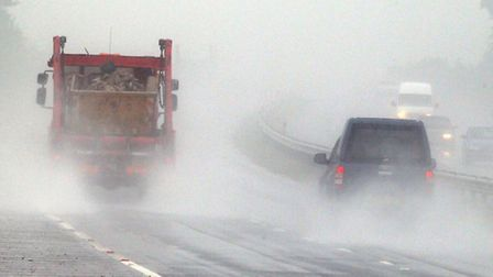 Heavy rain caused problems for motorists.