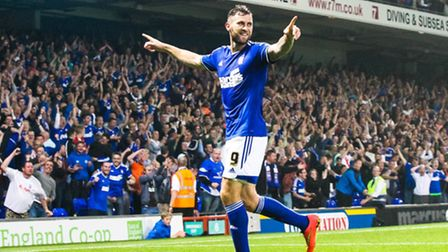 Daryl Murphy celebrates putting Ipswich Town 2-0 up. Picture: Steve Waller