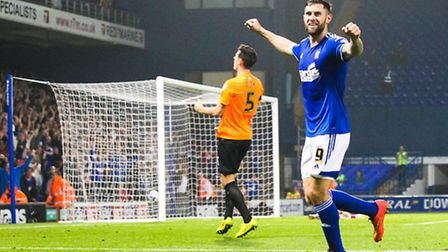Daryl Murphy scores Town's second goal of the night